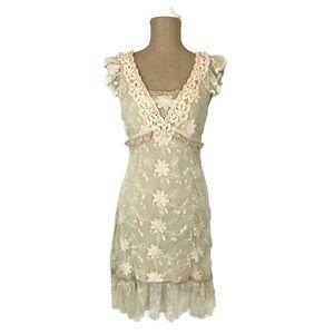 Lulumari Beige Floral Lace Embroidered Boho Dress